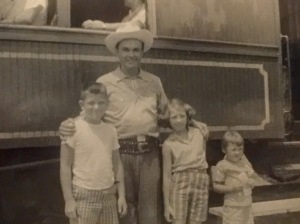 My hero, Fred Kirby, with my brother and sister, Tony and Janie, and some kid that is not, but should have been me!